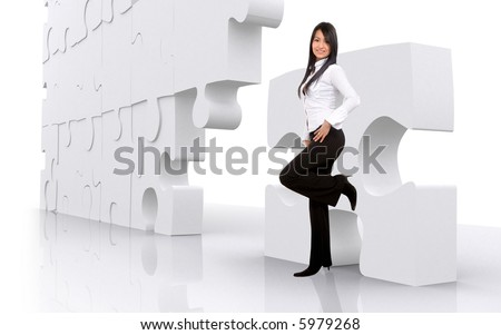 business girl leaning on a puzzle - isolated over a white background - stock photo