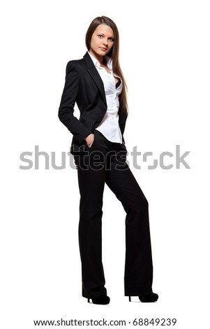 business girl on white background - stock photo