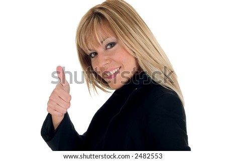 Business girl showing thumb up - stock photo