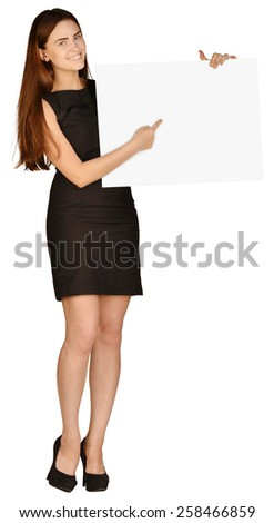 Business girl shows forefinger hand on the blank banner - stock photo