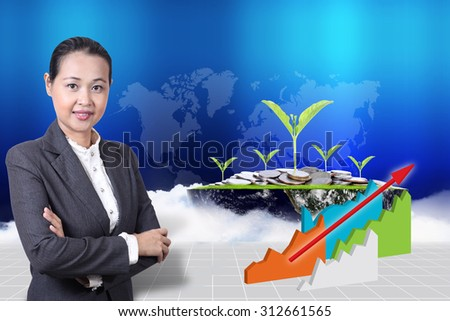 business girl with plant growing out of coins on earth. (Elements of this image furnished by NASA) - stock photo