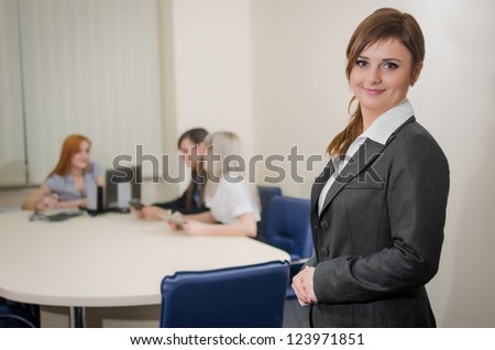 Business Girl with Tablet