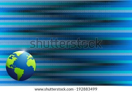 business globe illustration design over a binary background - stock photo