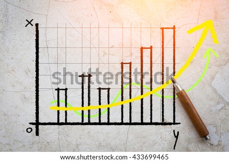 business graph analysis on grey background - stock photo