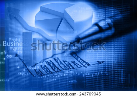 Business graph analysis report		 - stock photo