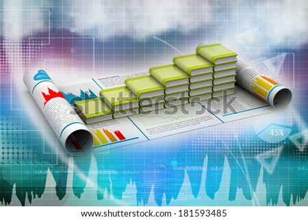 Business graph and books of register - stock photo