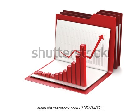 Business graph and chart on office folder. Conceptual 3d illustration - stock photo
