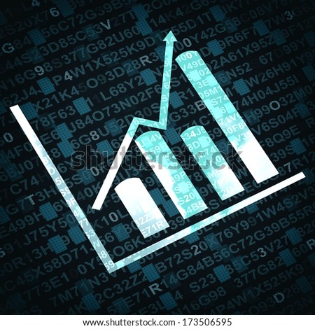 Business graph and chart with arrow going up - blue background - stock photo