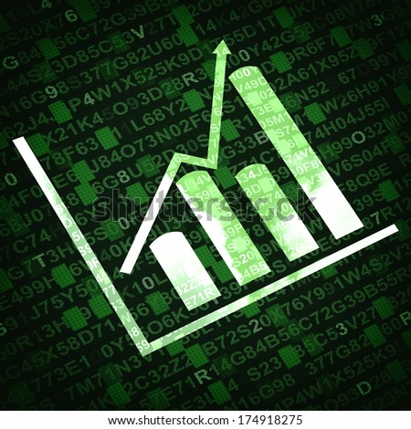 Business graph and chart with arrow going up - green background - stock photo