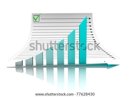 Business graph and document - stock photo
