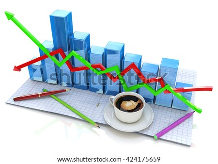 Business graph and documents, Business accounting for the design of information related to business and economy. 3d illustration - stock photo