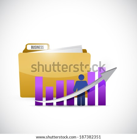 business graph and folder illustration design over a white background - stock photo