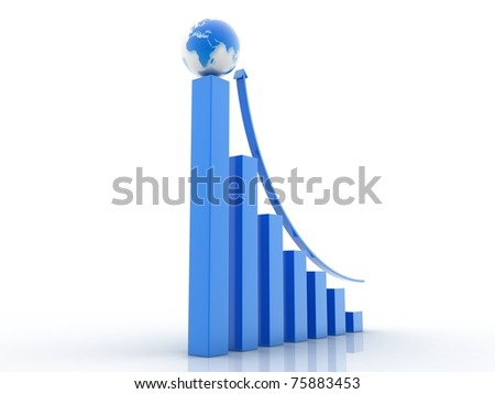 Business graph and globe - stock photo