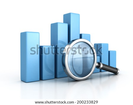 Business graph and magnifying glass. business analyzing concept 3d render illustration - stock photo
