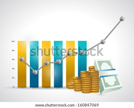 business graph and money illustration design over a white background - stock photo