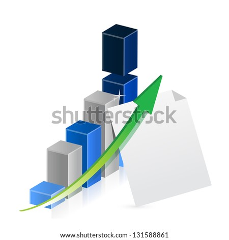 business graph and paper illustration design over a white background