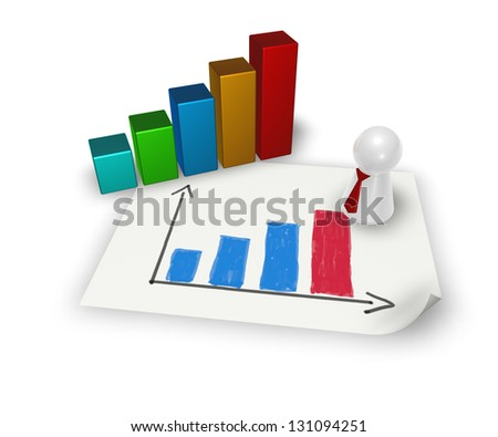 business graph and play figure with tie - 3d illustration