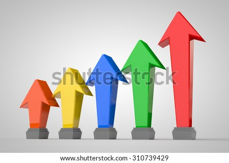 business graph arrow on white background - stock photo