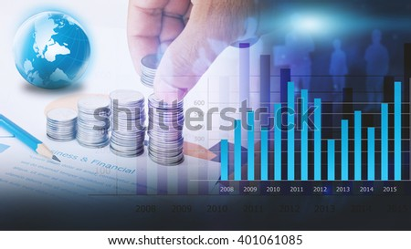 Business graph background. financial graph - stock photo