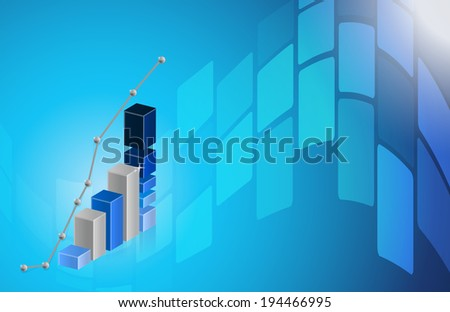 business graph blue Abstract technology background illustration design graphic - stock photo