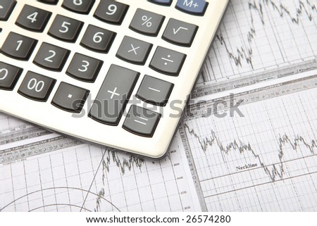 business graph & calculator - stock photo