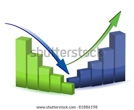 business graph, chart, diagram, bar, up, down - stock photo