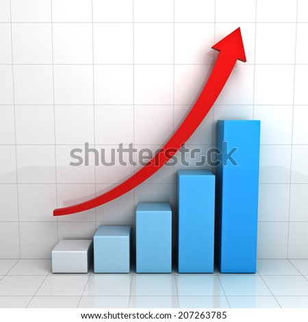 Business graph chart with red rising arrow over white background with reflection - stock photo