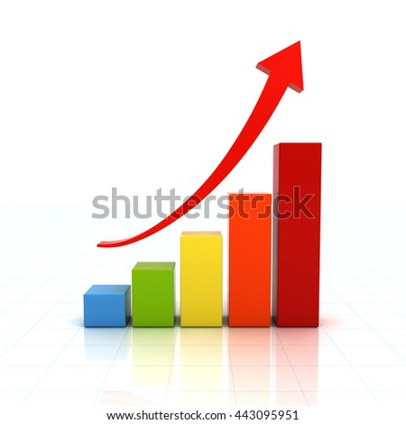 Business graph chart with red rising arrow over white background with reflection. 3D rendering.