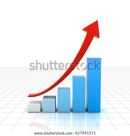 Business graph chart with red rising up arrow isolated over white background with reflection and shadow. 3D rendering.