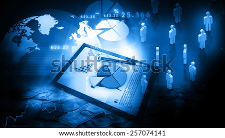 Business graph, charts, table with business people 	 - stock photo