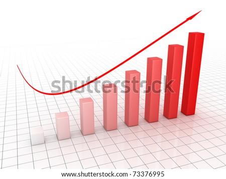 Business graph 3D - stock photo