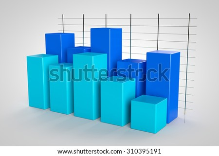 business graph 3d model on white background