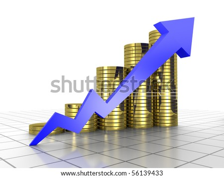 Business Graph, 3d rendered conceptual arrow and coin chart on grid - stock photo