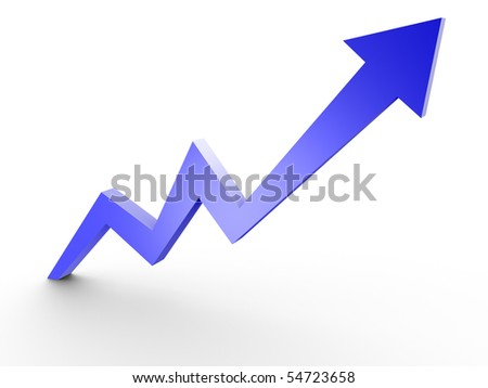 Business Graph, 3d rendered conceptual arrow chart - stock photo