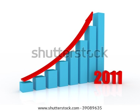 Business Graph. Growth in 2011 - stock photo
