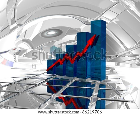business graph in futuristic space - 3d illustration - stock photo