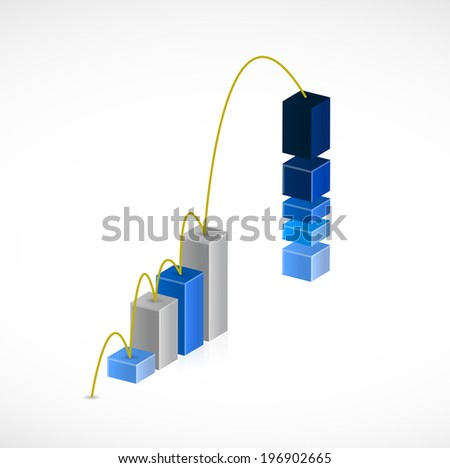 business graph jump illustration design over a white background
