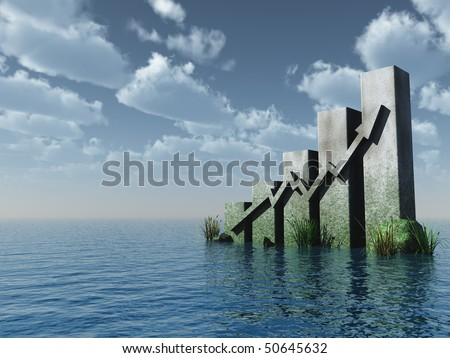 business graph monument under cloudy blue sky - 3d illustration - stock photo