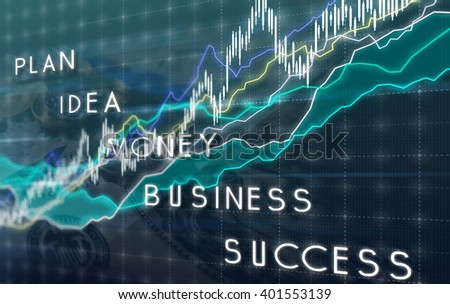 Business graph of growth of the stock market and monetary gain - stock photo