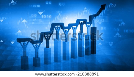 Business Graph on abstract blue background 	 - stock photo