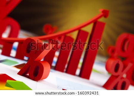 Business graph on chart  - stock photo