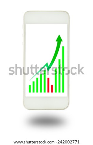 Business graph on the smartphone - stock photo