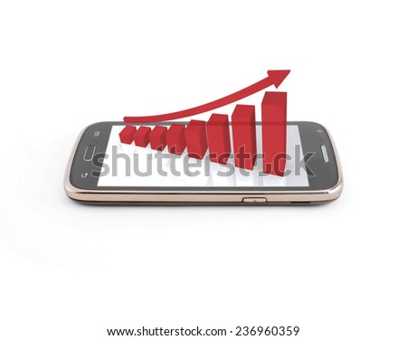Business graph on the smartphone mobile,red color - stock photo