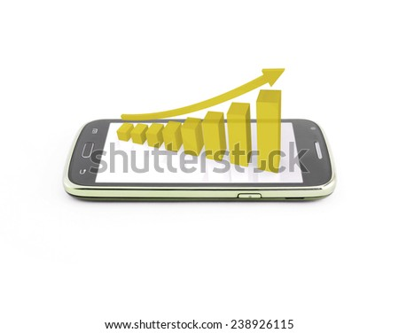 Business graph on the smartphone mobile,yellow color - stock photo