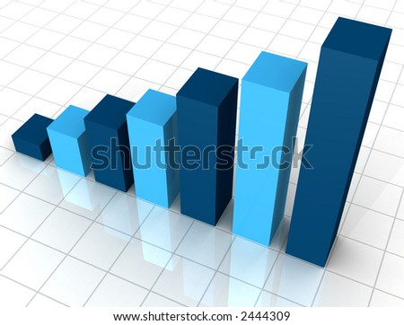 Business Graph on white reflective surface - stock photo