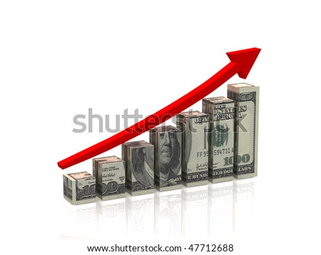 Business graph. Red arrow and cubes with texture of the dollar isolated on white background. High quality 3d render.