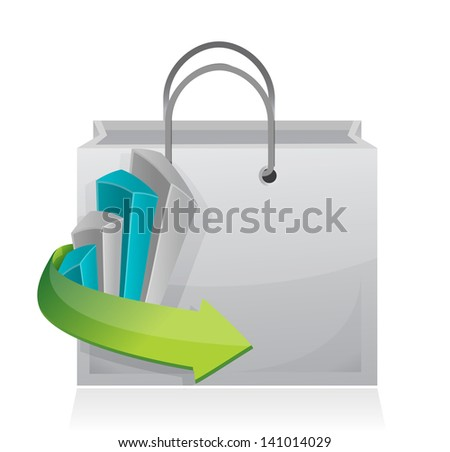 business graph shopping bag illustration design over a white background - stock photo