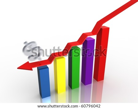 Business graph showing decreasing profit for dollar - stock photo