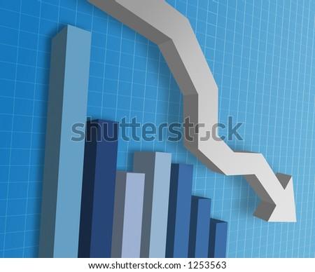 Business graph showing market decline - stock photo