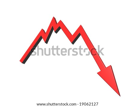 business graph shows bad news - 3d illustration